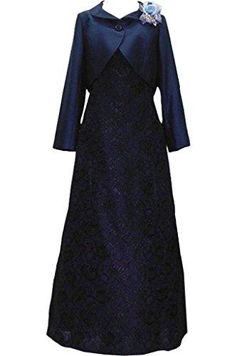 (ウィーン ブライド)Vienna Bride ロングドレス 新婦の母ドレス ボレロ エレガント ファミリーパーティー 結婚式 母親紺色-17W-紺色