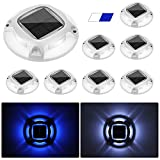 Solar Dock Lights Marine,APONUO Driveway Solar Lights 2 Color Modes Dock Lights Outdoor Waterproof Driveway Lights Led Solar Powered for Boat Dock Deck Stairway Driveway (Cool White/Blue)