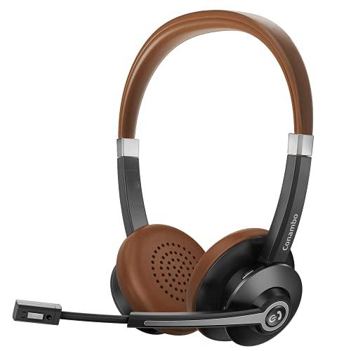 Conambo Bluetooth-Headset V5.0 mit 25 Stunden Sprechzeit, drahtloses CVC8.0-Headset, Kabelloses Headset mit Mikrofon und Geräuschunterdrückung, geeignet für iPhone Android Handys .