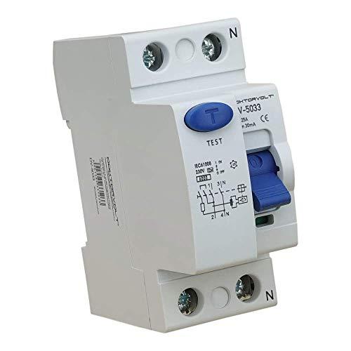 Interruptor diferencial 2P 25A 30mA Tipo A Interruptor FI RCCB RCD Interruptor Doktorvolt 5033