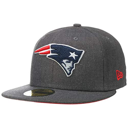 New Era 59Fifty Heather ESS Patriots Cap Basecap Baseballcap Fitted Flat Brim NFL-Cap Pats (8 0/0 (63,5 cm) - anthrazit)
