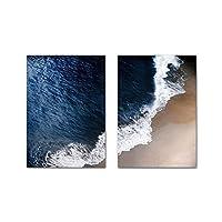 (ウォールアート)モダンペインティング北欧キャンバス写真ブルーオーシャンビーチウェーブ風景ポスター海景プリント家の装飾(30x50cm)x2フレームなし
