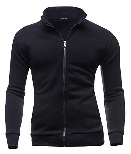 AIEOE Mens Lapel Cardigan Coat Leisure Jacket Casual Stand Collar Zipper Coat L Black