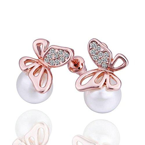 Beydodo Orecchini Oro Rosa Donna Orecchini Perle Bianco Orecchini Diamanti Orecchini Farfalla