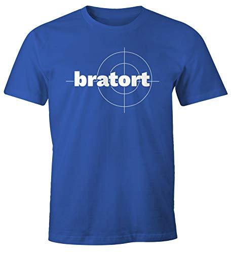 Preisvergleich Produktbild MoonWorks® Herren T-Shirt bratort Fun-Shirt Motiv Shirt Parodie Grillen BBQ Barbecue Koch Sommer Foodie Küche blau L