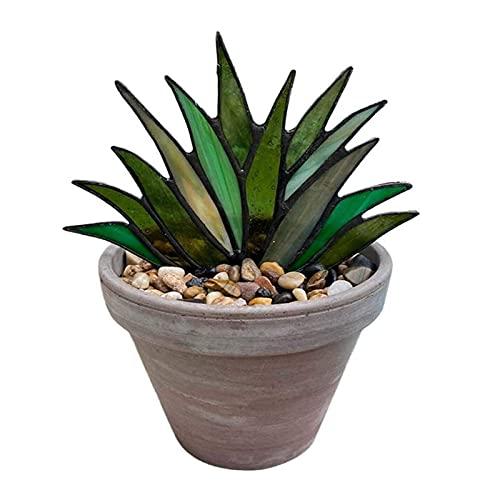 ZQSLZWZW Agave TeñIdo, Mini Planta De Aloe De Agave Artificial DecoracióN De Vidrieras En Maceta, Plantas De BonsáI Artificiales Adorno De JardíN Green
