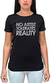 Printed Twbs000311 No Artist Tolerates Reality T-Shirt For Women-Black, Medium