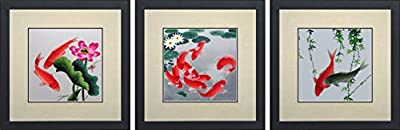 King Silk Art 100% Handmade Embroidery Feng Shui Orange & Black or Red Japanese Koi & Lotus Water Lilies Chinese Wildlife Fish Painting Anniversary Wedding Birthday Party Gifts Oriental Asian Wall Art Décor Artwork Hanging Picture Gallery 32004+32010+3201