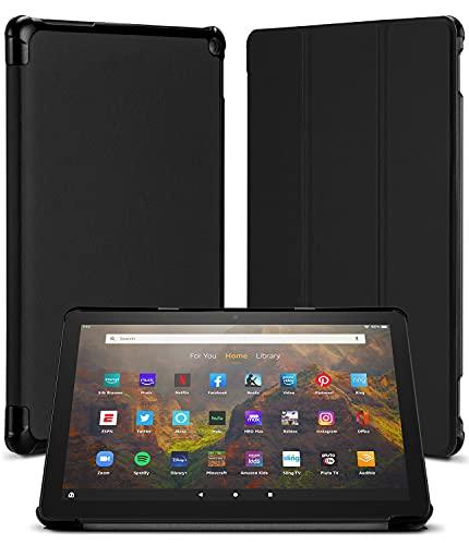 Goospery Flip Funda Compatible con Amazon Fire HD 10 (Solo Compatible con el Tablet de 11.ª generación, Modelo de 2021) - Carcasa Trasera de TPU Suave con Auto-Reposo/Activación (Negro)