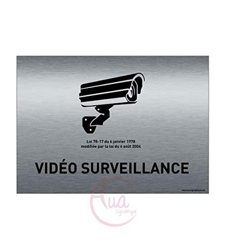 AUA SIGNALETIQUE - Plaque de porte Aluminium brossé imprimé AluSign - 210x150 mm - Double Face adhésif au dos (Vidéo surveillance)