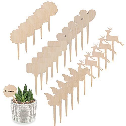 MHwan Pflanzenschilder Holz, Pflanzen Schilder, Umweltfreundliche Holzpflanze Tag Holz Garten Marker dekorative Garten Tags für Samen Topf Kräuter Blumen Gemüse, 30 Stück