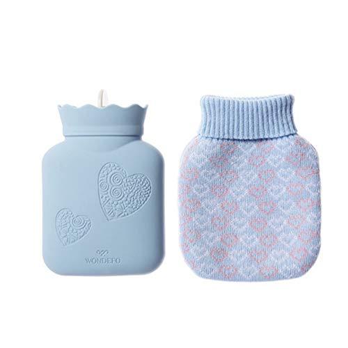Homemust Silikon Wärmflaschen mit Strickbezug, Heißwasserbeutel Mikrowellenheizung Kieselgelflasche Strickbezug Kieselgel Handwärmflasche als Geschenk