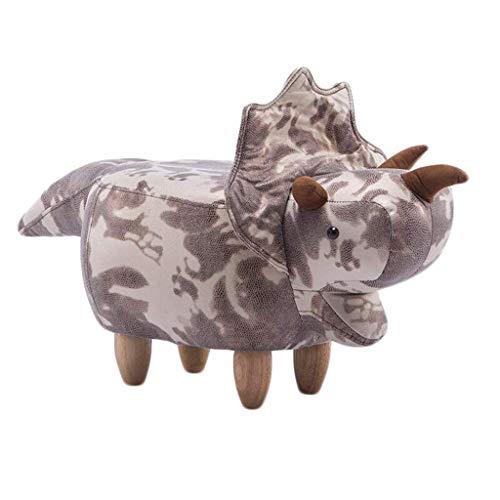 Forma del Dinosaurio Reposapiés, Sofá Taburete de Madera Creativo Animal Otomano Foyer Suave Cojín Zapatos Banco 40.2 * 14.6 * 13.8in