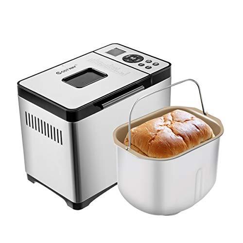 Giantex Brotbackautomat 19 Programme, 3 Brotgrößen (500g/750g/1000g), 3 Bräunungsgrad, 15 Stunden Timing-Funktion, Edelstahl Brotbackmaschine Brotbäcker mit LCD Bildschirm & Warmhaltefunktion