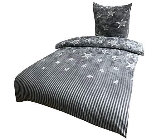 Leonado Vicenti Bettwäsche 135x200 4 teilig Fleece Winter grau weiß gestreift Sterne kuschel Flausch Sparset mit Reißverschluss