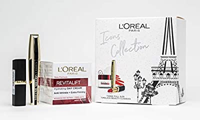L'Oreal Paris Icons Collection Gift Set For Her: Moisturiser, Mascara & Red Lipstick by Loreal