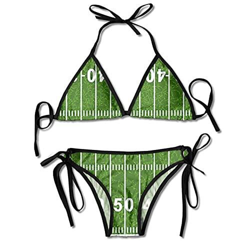 Conjuntos de Bikinis de Dos Piezas para Mujer Traje de baño de Campo de fútbol Halter Acolchado Push Up Ropa de Playa para Playa Piscina Surf Negro