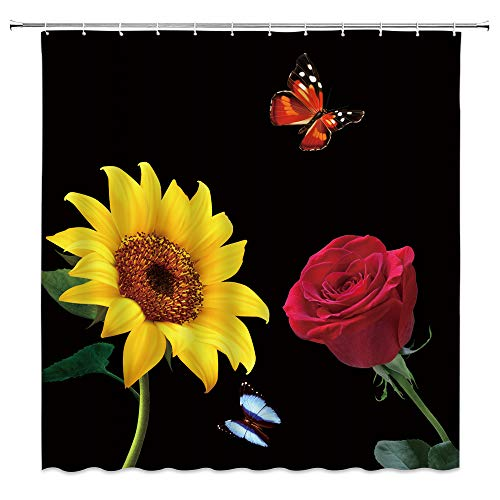 AMHNF Sunflower Rose Shower Curtain Blossom Yellow Sunflower Red Rose Flower Nature Floral Black Background Romance Spring Bathroom Decor Polyester Fabric Decor Curtains 70x70 Inch with Hooks