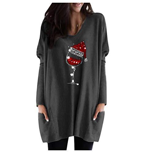 ReooLy Blusa Casual de Manga Larga con Estampado navideño a Juego para Mujer(Gris Oscuro,XXXL)
