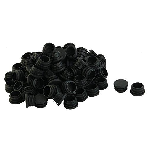 Sourcingmap 100pcs Bouchon Pied de Chasie Table Meuble Embout Bouchou Tuyau Insert Tube Ronds en Plastique 25 mm diamètre Noir