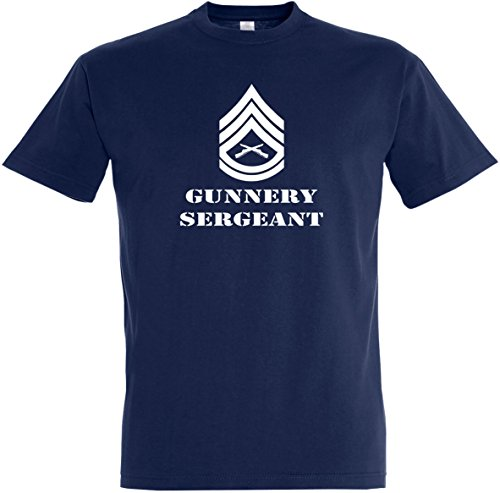 Herren T-Shirt Gunnery Sergeant S bis 5XL (S, Dunkelblau)
