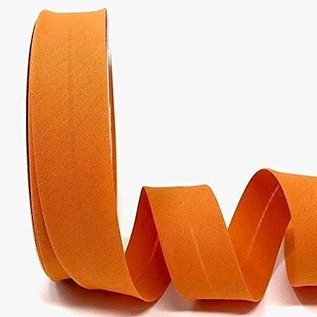 Byetsa Cinta al bies de polialgodón de 30 mm, color naranja en un rollo de 25 m
