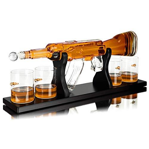 Whisiskey® Whiskey Karaffe - Gewehr - Whisky Karaffe Set - 1000ML - Gschenke für Männer - Inkl. 9 Whisky-Steine Schenktülle & 4 Whisky Gläser