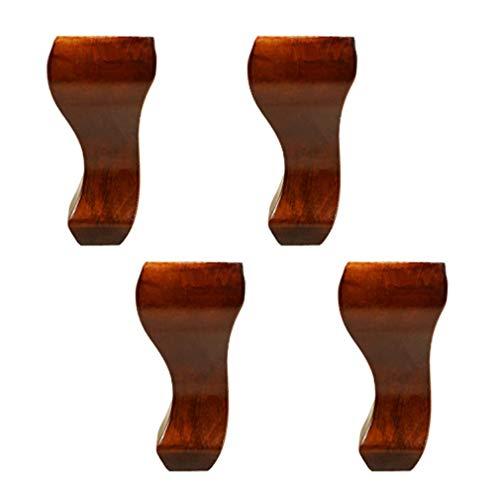 ZTMN Set van 4 Meubelpoten Massief Hout, Natuurlijke Houten Sofa Voeten, voor TV Kast Stoel Koffie Tafelbed Voeten, Keuken Voeten, Mooie en Praktische (6inch/15cm, Bruin)