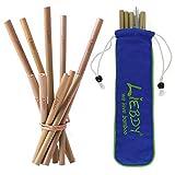 Liebdy® 10er Set Bambus-Strohhalme (je 5 Stk. 12 cm + 19,5 cm) + XXL Reinigungsbürste + Baumwoll-Beutel - wiederverwendbare, vegane Trinkhalme | Beutelfarbe blau