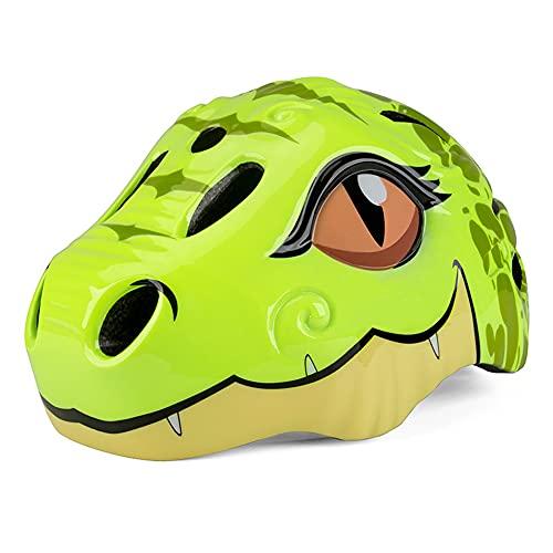 XKMY Casco para niños de 3 a 8 años de bicicleta para niños, casco de seguridad de dinosaurio, ciclismo, bicicleta de carretera, ultraligero, casco de esquí moldeado integralmente (color verde)