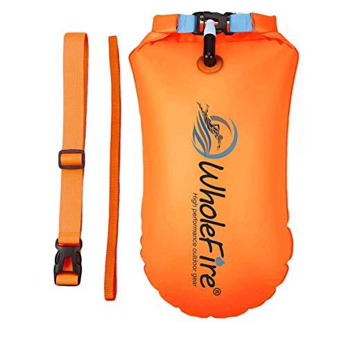 WholeFire Boya de 20 l con bolsa seca, para triatlón, impermeable, hinchable, de alta visibilidad para deportes acuáticos, flotadores de aguas abiertas, triatletas, esnórquel