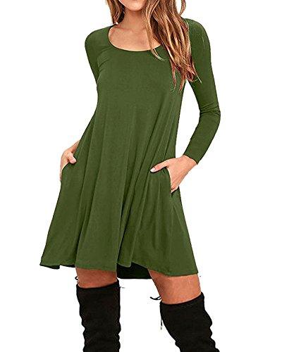 Damen Mini Casual Kleider Loose Rock O Ausschnitt Langarm Stretch Basic T-Shirt Kleider Armeegrün L