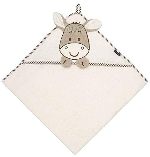 Morgenstern Kapuzenhandtuch Baby 100x100 cm mit Esel für Kinder in Beige