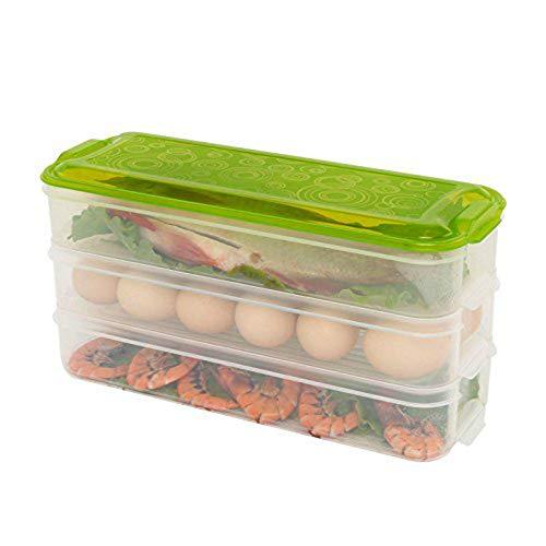Ideapark Aufbewahrungsbehälter für Lebensmittel, 3 Schichten mit Deckel für Eier, Gemüse, Fleisch, Küche, BPA-frei, zum Mitnehmen