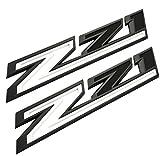 2Pcs 2019-2021 Z71 Emblems 3D Decal Badge Fender Replacement for Silverado 1500 2500 3500 HD Big Size (Black White)