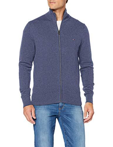 Tommy Hilfiger Pima Cotton Cashmere Zip Through Sweater, Faded Indigo Heather, L Homme