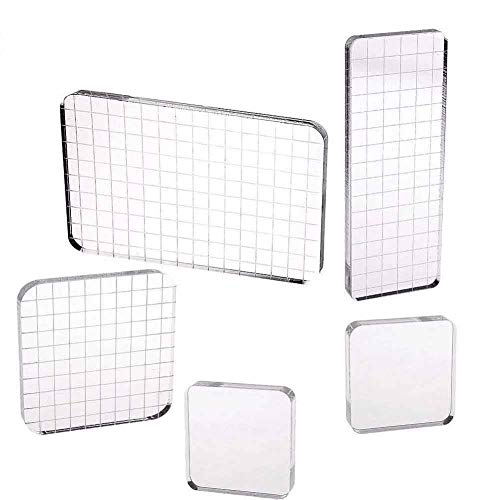 5 Pieces Acrylic Stamping Blocks with Grid Lines for Scrapbooking Crafts Making, 4 Sizes