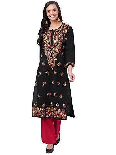 Floral Chikankari Dress Long Kurta Hand Embroidered Chikan Kurti For Women Best Gift For Her 100/% Cotton Chikan Embroidery Kurti