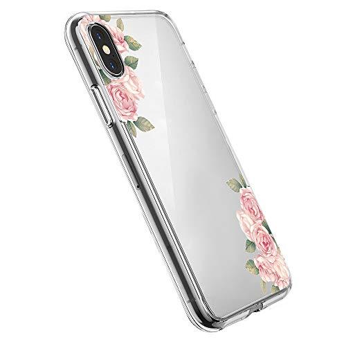 Pacyer Case kompatibel mit iPhone X Hülle Silikon Ultra dünn Transparent Handyhülle Rückschale TPU iPhone X Schutzhülle für Apple iPhone X Case Cover Mädchen Elefant Federn(3)