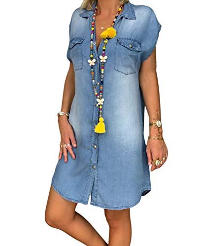 Minetom Vestiti Jeans Donna Estivi Vestiti Camicia Donna Maniche Corte Camicia Lunga con Tasca Estate Blu Vestiti Donna Casual Mini Vestito Scoll A V Partito Mini Vestito Denim Vestiti B Blu 44