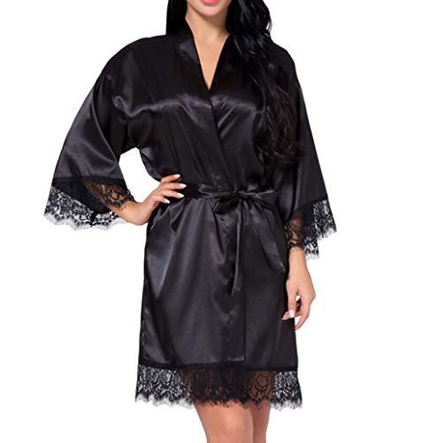 DELEY Frauen Kimono Robe Satin Seide Bademantel Morgenmantel Spitze Getrimmt Kurze Nachtwäsche Braut Brautjungfer Roben Schwarz Größe L