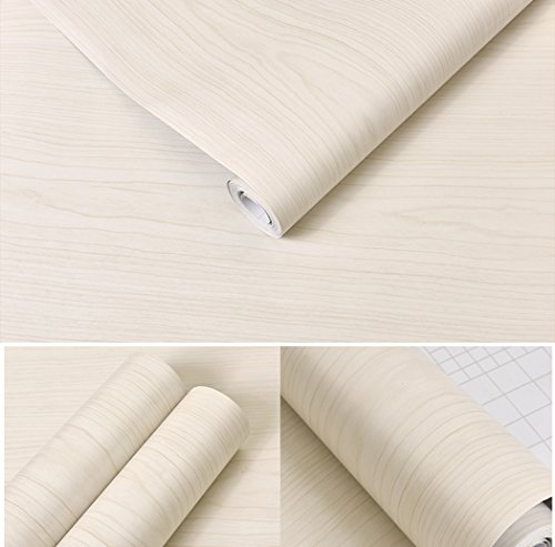 GLOW4U White Maple Wood Contact Paper Vinyl Self Adhesive Shelf Drawer Liner for Kitchen Cabinets Shelves Table Desk Dresser Furniture Arts and Crafts Decal 24 Inches by 16 Feet