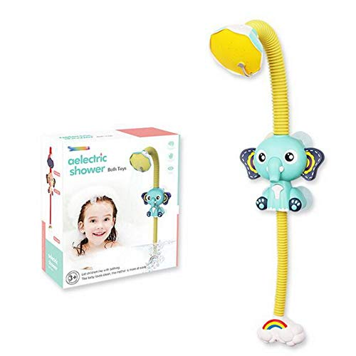 DEARLIVES Baby Shower Head for Bath, Electric Elephant Shower Head with Suckers, Battery Operated Childrens Bathtub Toy