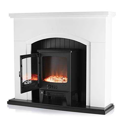 Warmlite WL45045 Newcastle Electric Fireplace Suite, Adjustable Thermostat and LED Flame Effect, Traditional Stove Design, White