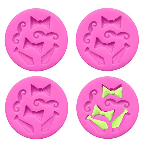 Luckycivia 4 PACK Bow Ties Beard Mini Silicone, Candy Chocolate Fondant Mold, Silicone Cake Mould