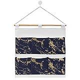 Bolsa de almacenamiento de lino de algodón para colgar en la pared, moderna y elegante, color azul marino, dorado y mármol, bolsas de almacenamiento para dormitorios y cuartos de baño, 7 bolsillos