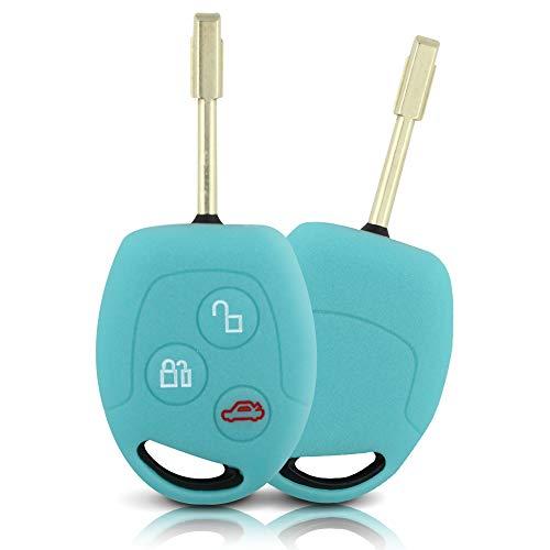 Tapa de la Llave Hecha de Silicona Premium Compatible con Ford, Funda Protectora para Llaves de Coche Cubierta para el Tipo de Clave 3BK - Azul Brillante