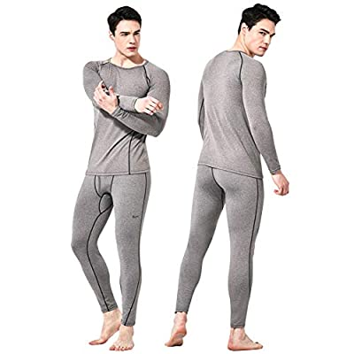 Feelvery Men's HEATPRO Active Performance Long Johns Thermal Underwear Set with Excellent Soft Warm Fleece Lined (Open Fly_Melange Gray_1 Set, Large)