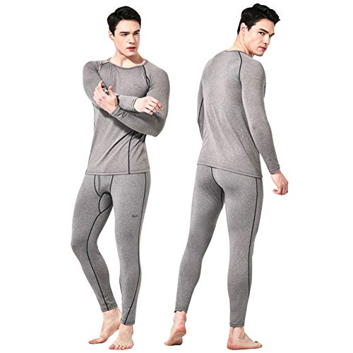 Feelvery Men's HEATPRO Active Performance Long Johns Thermal Underwear Set with Excellent Soft Warm Fleece Lined (Open Fly_Melange Gray_1 Set, Small)