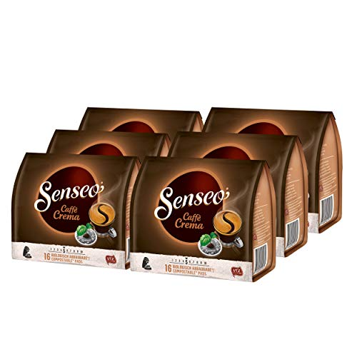 Senseo Caffe Crema, Kaffeepads, Aromatisch und Vollmundig, Röstkaffee, Kaffee, 96 Pads